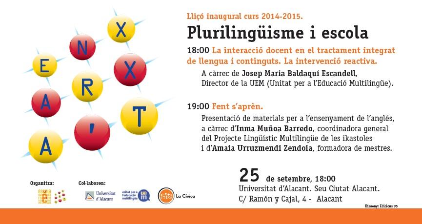 Lliçó inaugural curs 2014 – 2015. Plurilingüisme i escola