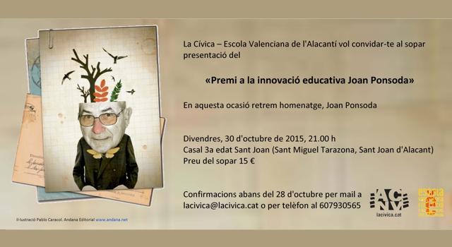 SOPAR PRESENTACIÓ DEL PREMI A LA INNOVACIÓ EDUCATIVA JOAN PONSODA I SOPAR HOMENATGE