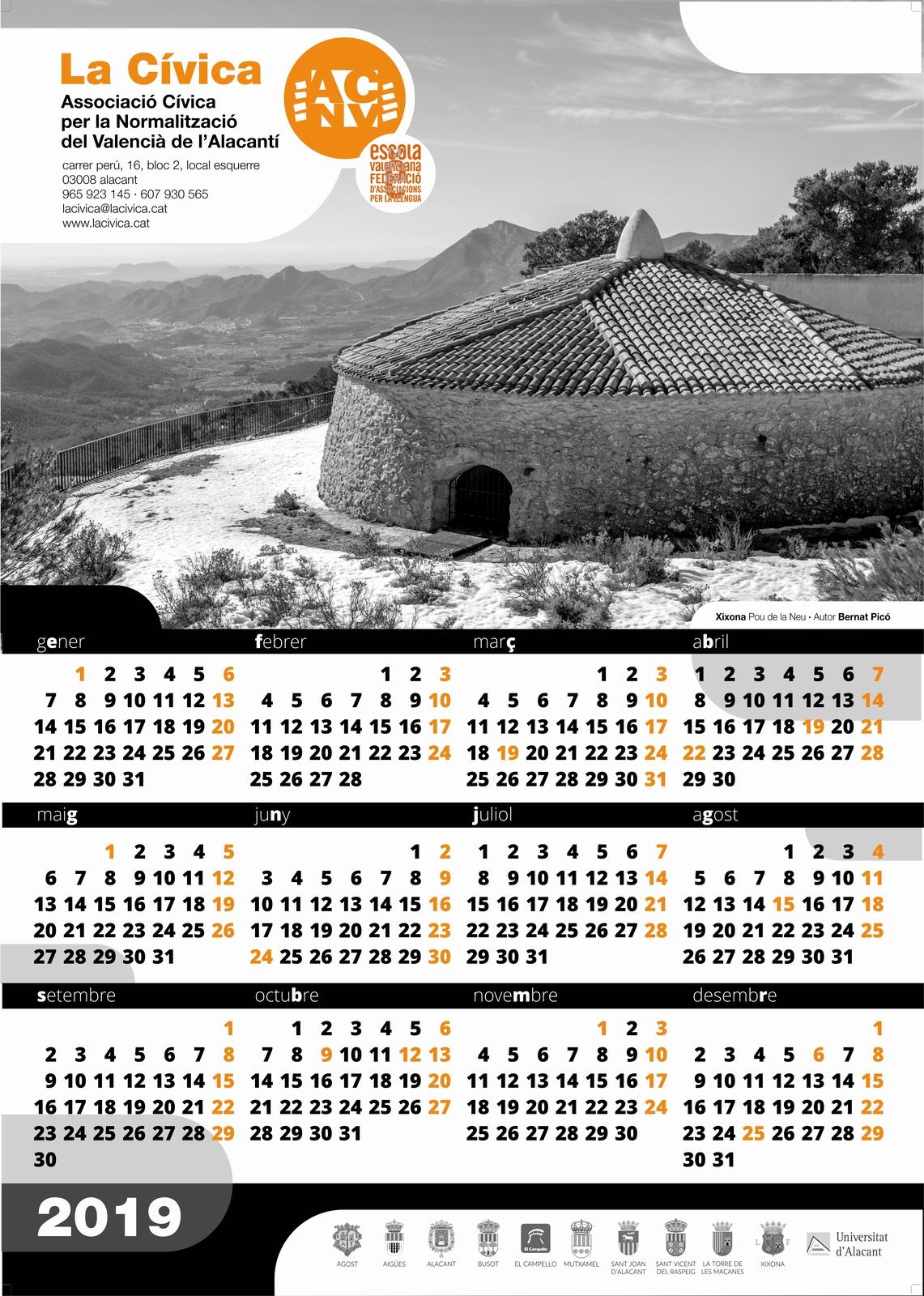 Calendari La Cívica 2019